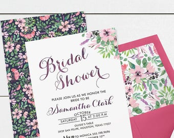 Bridal Shower Invitation Bridal Shower Invite Floral Watercolor Boho Bridal Shower DIY Printable Bridal Shower Pink Purple