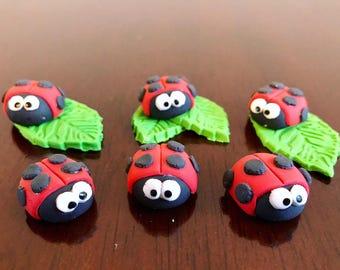 Fondant Ladybugs (Set of 6) Cake Topper