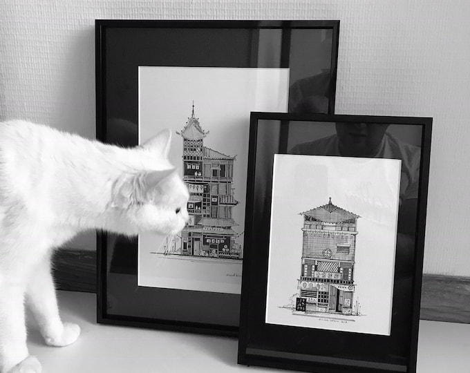 2 drawings framed