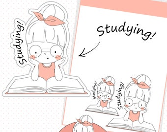 Studying stickers, Book reading stickers, School stickers, Study stickers, Kawaii stickers, Kawaii planner girl  - MAP040