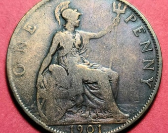 1900 Great Britain 1 Penny Victoria UK Coin KM# 790 Lot #C09