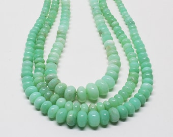 ON SALE 70% Off Mint Chrysoprase Smooth Rondelle Beads/Green Chrysophase Rondelle / Chrysophase Wholesale 4-10 MM,  3 line 17 Inch