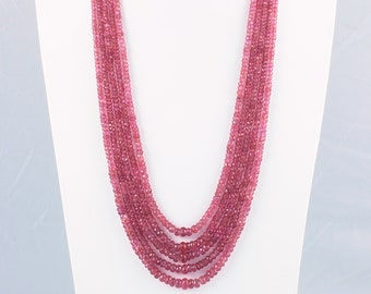 """New 2x4mm Faceted rose ruby Handmade Gemstone necklace 18/"""" Silver clasp"""