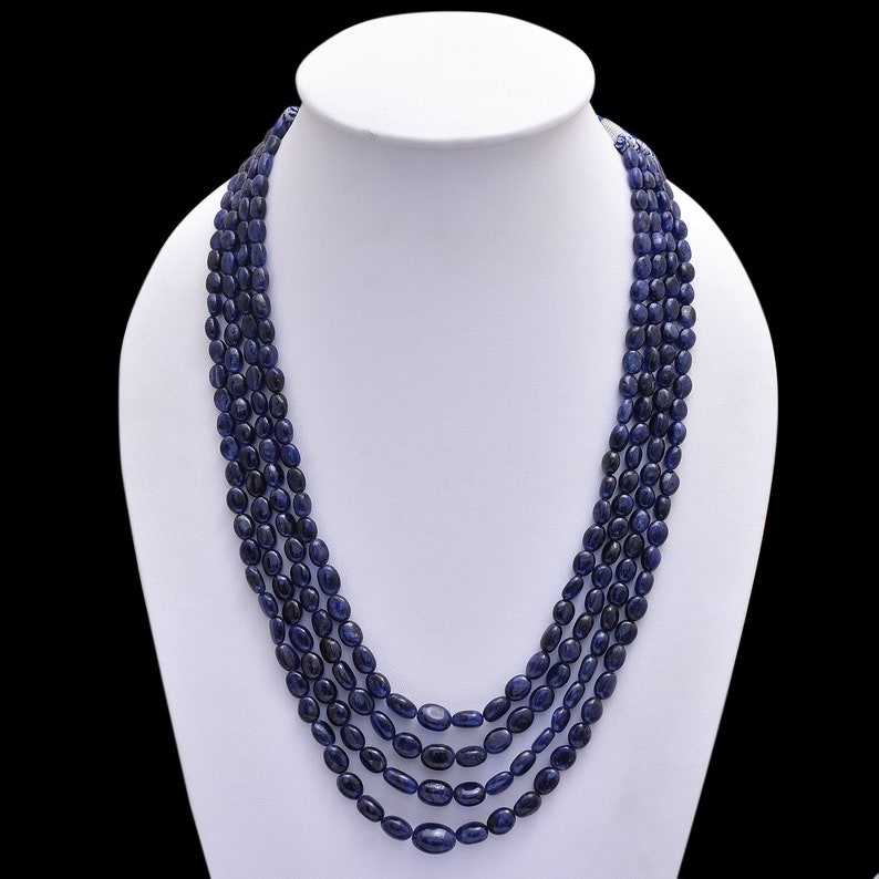 6x8mm-10x14mm Blue Sapphire Smooth Oval Tumbles Beautiful BLUE SAPPHIRE Beaded Necklace AMB-316 17-21Inch Long Multi Strand Necklace