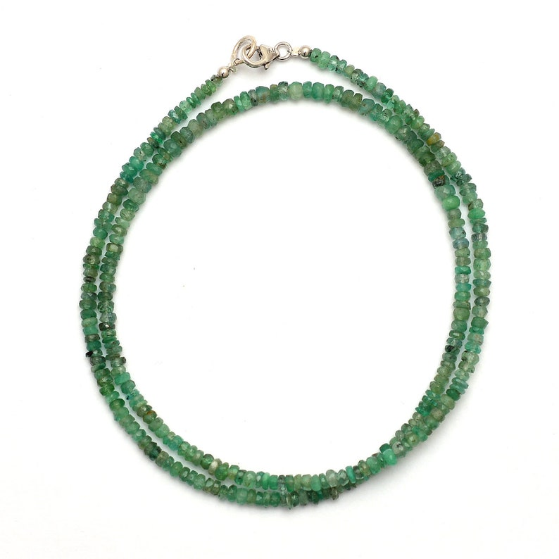 2-3mm AAA Natural Zambian Emerald Faceted Rondelle Gemstone Beads