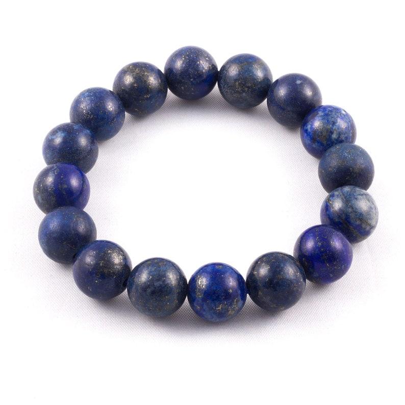 Genuine Handmade blue stone Lapis Lazuli Bracelet Lapis Lazuli elastic bracelet Healing Crystal Bracelet 12mm Lapis Lazuli Balls