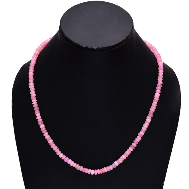 Pink Welo Ethiopia Opal Beaded Necklace Ethiopian Pink Opal Water Absorbing Stone 5mm-5.5mm Opal Smooth Rondelle Beads Necklace AMB-568