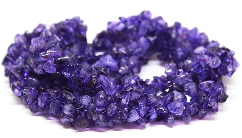 Natural Purple Amethyst Smooth Chips Nuggets 5x3,6x4 24 inch Strand
