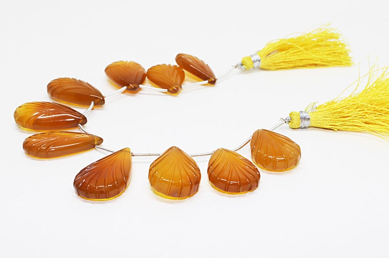 Yellow Chalcedony Gemstone,Fancy Shape Carving Briolettes Beautiful Natural Yellow Chalcedony Hand Carved Pear Shape 21x16mm to 30x18mm