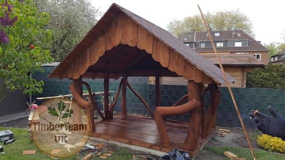 Jardin en bois Gazebo Unique fait à la main tonnelle pavillon Unique de Hot  Tub abri - Pergola