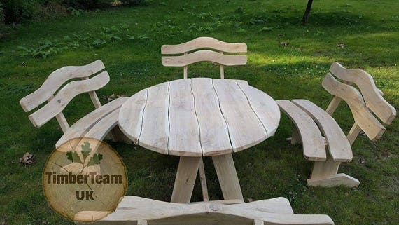 Wooden Garden Furniture Set Unique Handmade   Etsy