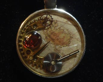 Vintage Map & Clockwork | Pendant