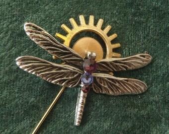 Clockwork Dragonfly Pin