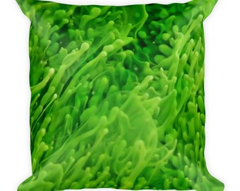 Micro-organisms - Square Pillow - green