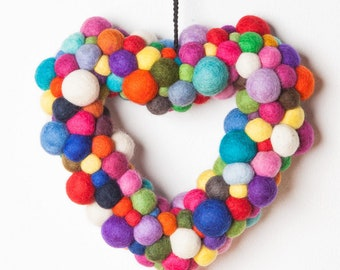 Heart made felt balls colorful door jewelry wall decoration gift mother wedding valentine's day mother's day, Mother's Day gift, decoration