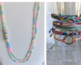 SALE! Cord Bracelets and Seed Beads Necklace