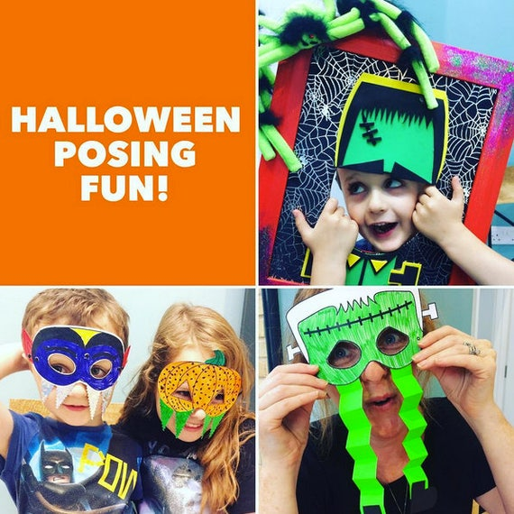Halloween Masks Colouring Download, Halloween Craft Marks, Halloween Colouring Sheet, Halloween Party, Kids Party