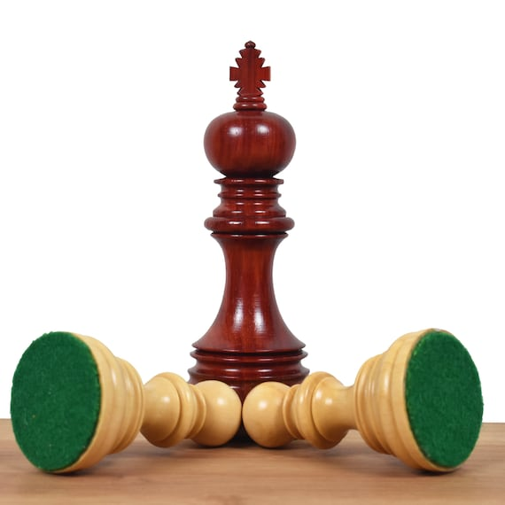 """Triple Weighted Ebony Wood 4.4/"""" Bridled Staunton Luxury Chess Pieces Only Set"""