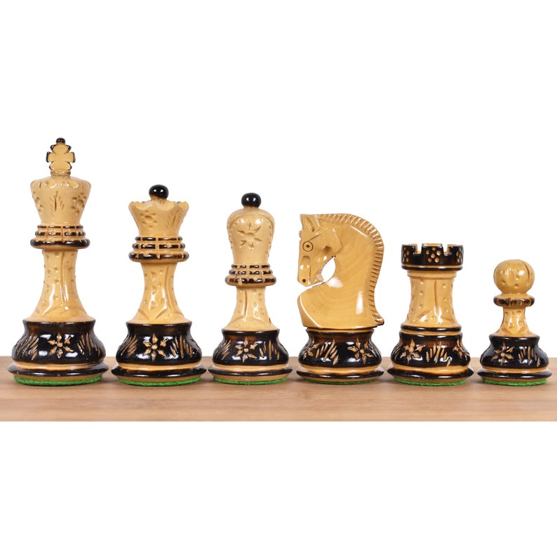 3.9 Artisan Carving Series Burnt Zagreb Chess Pieces Only Set in Weighted Box wood with Extra queens