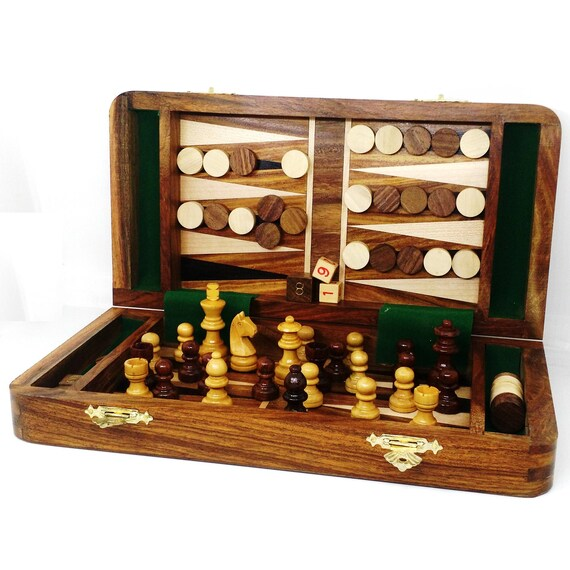 """Wooden Chess Set Travel Magnetic Folding Board Rose wood 8/"""" 2 Extra Queens"""
