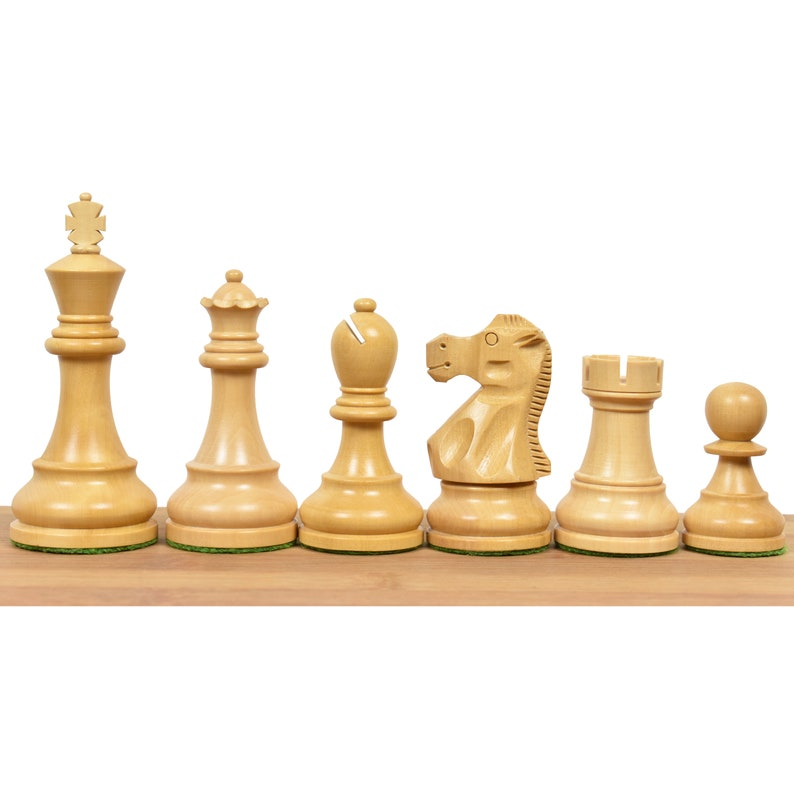 3.9 Reproduced Reykjavik Championship Series Weighted Wooden Chess Pieces chessmen Ebonised wood set 219BW32