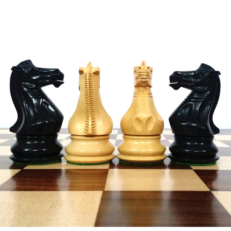 4.1 Pro Staunton Weighted Wooden Chess Pieces chessmen Ebonised wood set Extra queens 223BW34