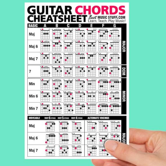 Jumbo Gitarre Akkorde Cheatsheet Quick Referenz Laminiert Doppelseitig 6 X 9 Großes Geschenk Für Gitarristen Auf Allen Ebenen