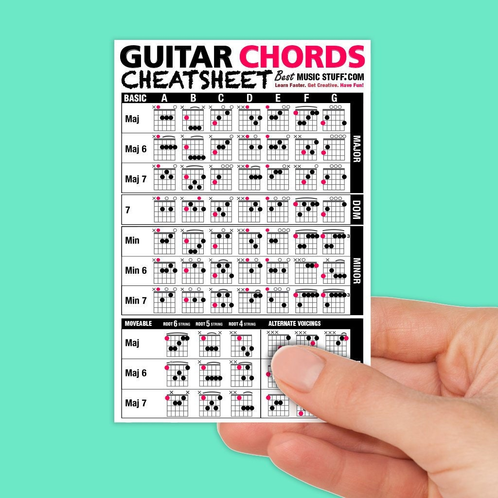 Guitar Chords Cheatsheet Laminated Pocket Reference Etsy