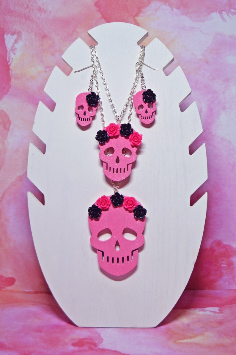 Creepy Cute Flower Skulls Necklaces and Earrings Kawaii Kitsch Pastel Goth Cute Rose Halloween