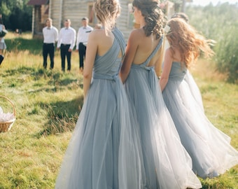 3dde8b9a50ff Grey Bridesmaid dress with tulle skirt, grey infinity dress, silver grey  convertible dress, grey multiway dress,grey bridesmaid dress