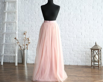 553945cd3ac Pale pink Long Tulle Skirt