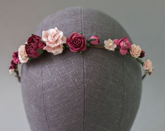 Burgundy and Blush Flower Crown. Fall flower crown. Burgundy flower crown. Burgundy headpiece. Wine flower crown. Pink floral crown. Boho