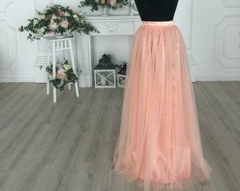 3383781f3991 Peach Long Tulle Skirt, peach tulle skirt, bridesmaid peach tulle skirt,  peach bridesmaids, peach bridesmaid wedding tulle skirt, peach tutu