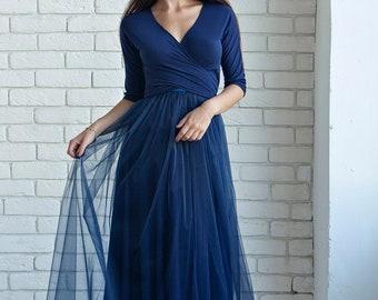 e40002149343 Navy Bridesmaid dress, navy infinity dress, navy convertible dress, navy  multiway dress, navy bridesmaid dress, navy maxi dress, navy dress
