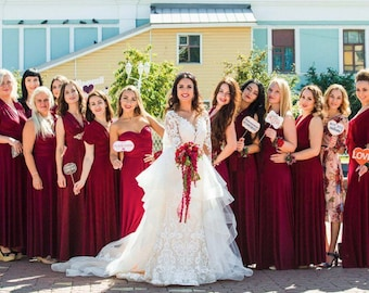 bd1df296b59 Burgundy wine Bridesmaid dress