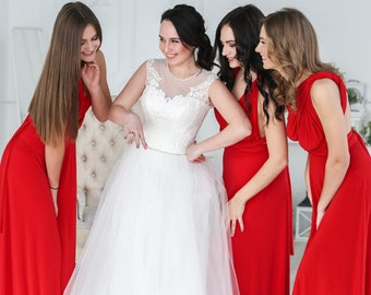 3d6d7f7b70b8 Bridesmaid dress, red infinity dress, red bridesmaid dress, red convertible  dress, red maxi dress, red multiway dress, infinity dress, red