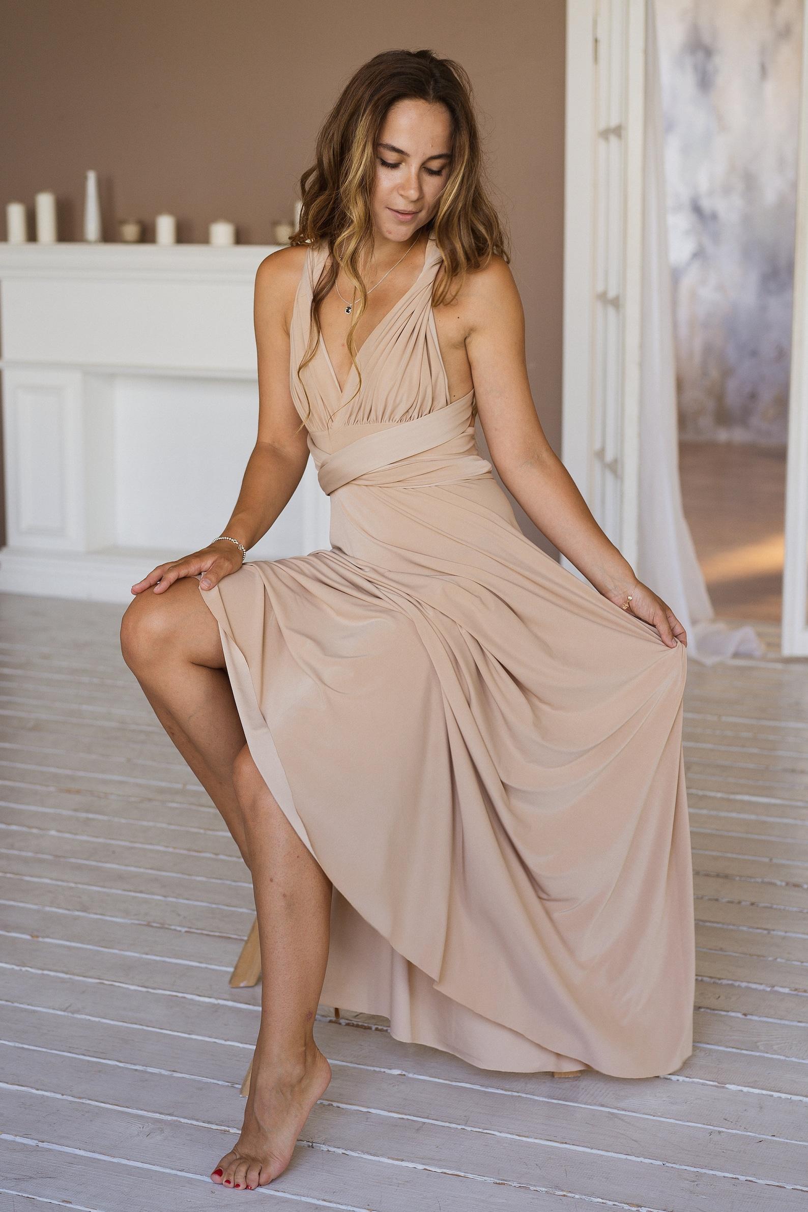Beige Convertible Bridesmaid Dress
