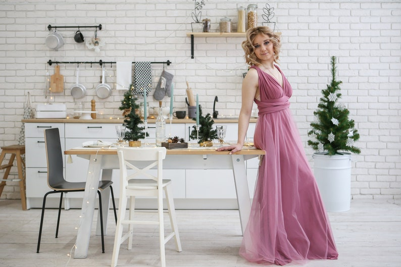 Multiway Dress Maxi Wrap Convertible dusty pink Infinity Dress Wedding Dress Dusty Rose Dress Rosewood Bridesmaid Dress Floor Length