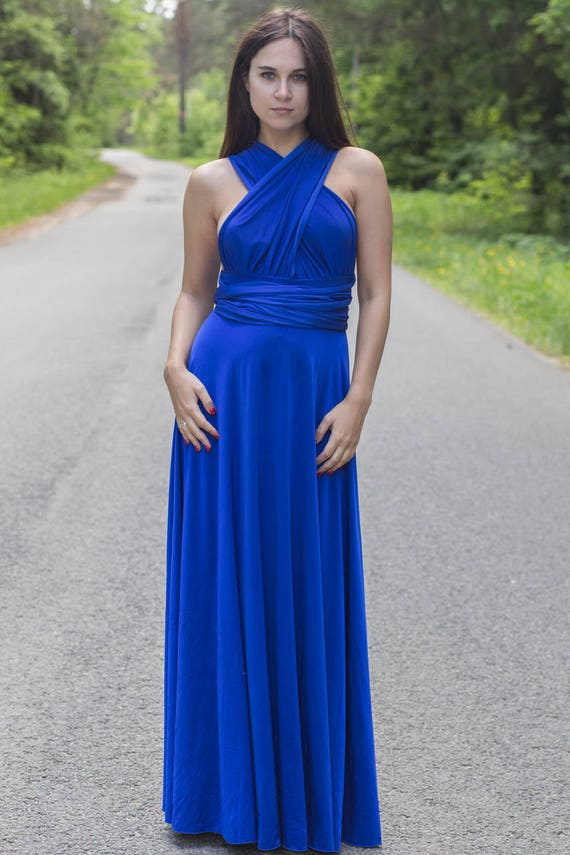 Plus size Royal Blue infinity dress, Plus size Royal Blue convertible  dress, Plus size Royal Blue multiway dress, plus size blue bridesmaid