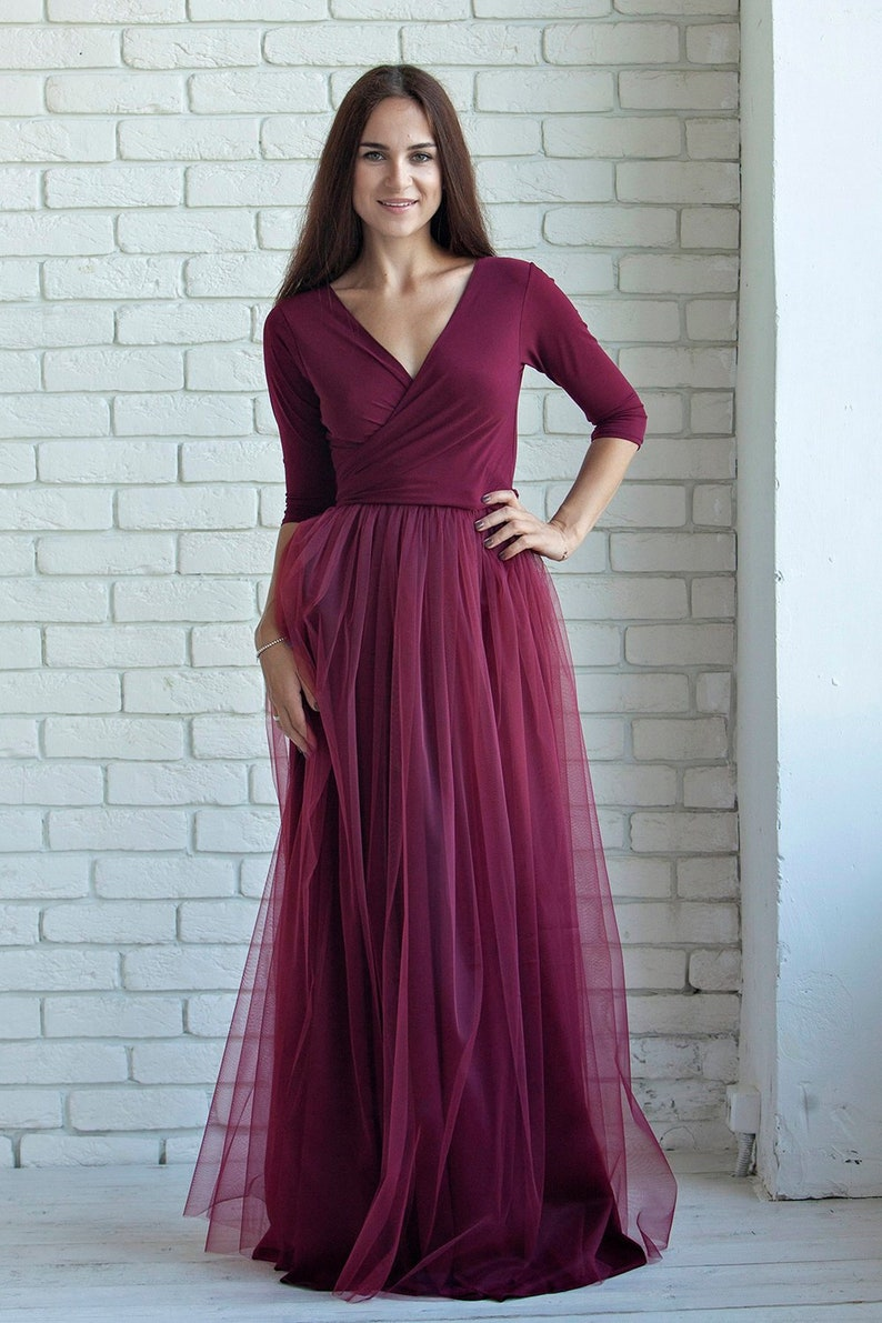 ca9d3289c35 Plus size Burgundy wine Bridesmaid dress, Burgundy infinity tulle dress,  Burgundy tulle convertible dress, multiway dress, Burgundy tulle