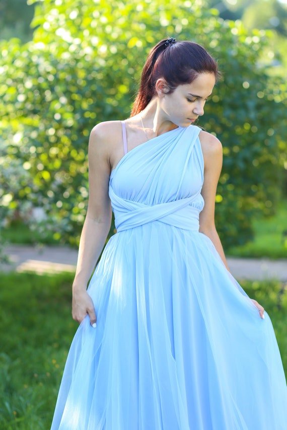 Plus size light blue infinity dress, Plus size baby blue convertible dress,  Plus size baby blue multiway dress, plus size light blue maxi