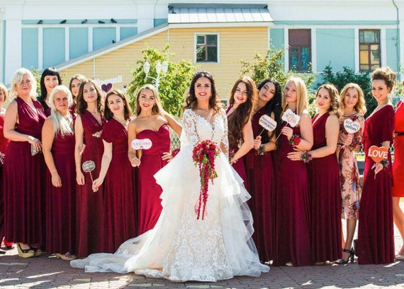 Burgundy wine Bridesmaid dress, burgundy infinity dress, burgundy convertible dress, burgundy multiway dress, party dress, prom dress