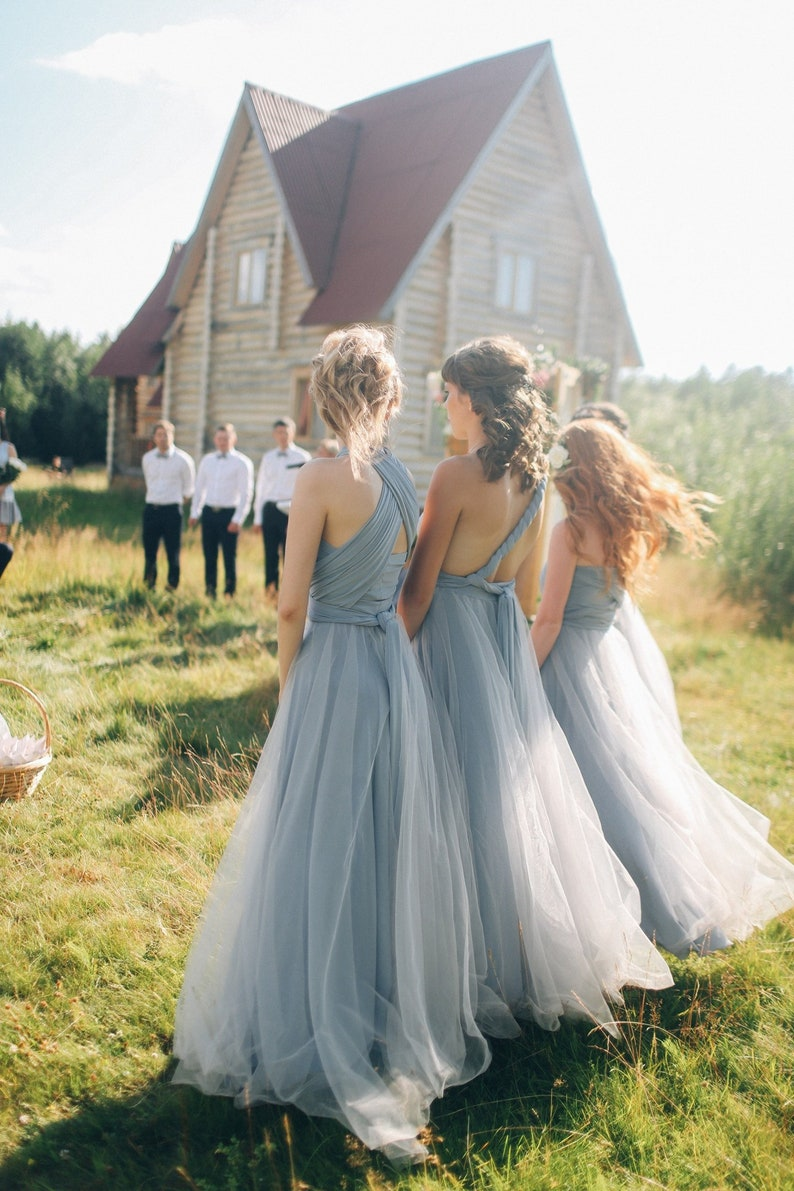 5d709415dfd Plus size Grey Bridesmaid dress with tulle skirt grey