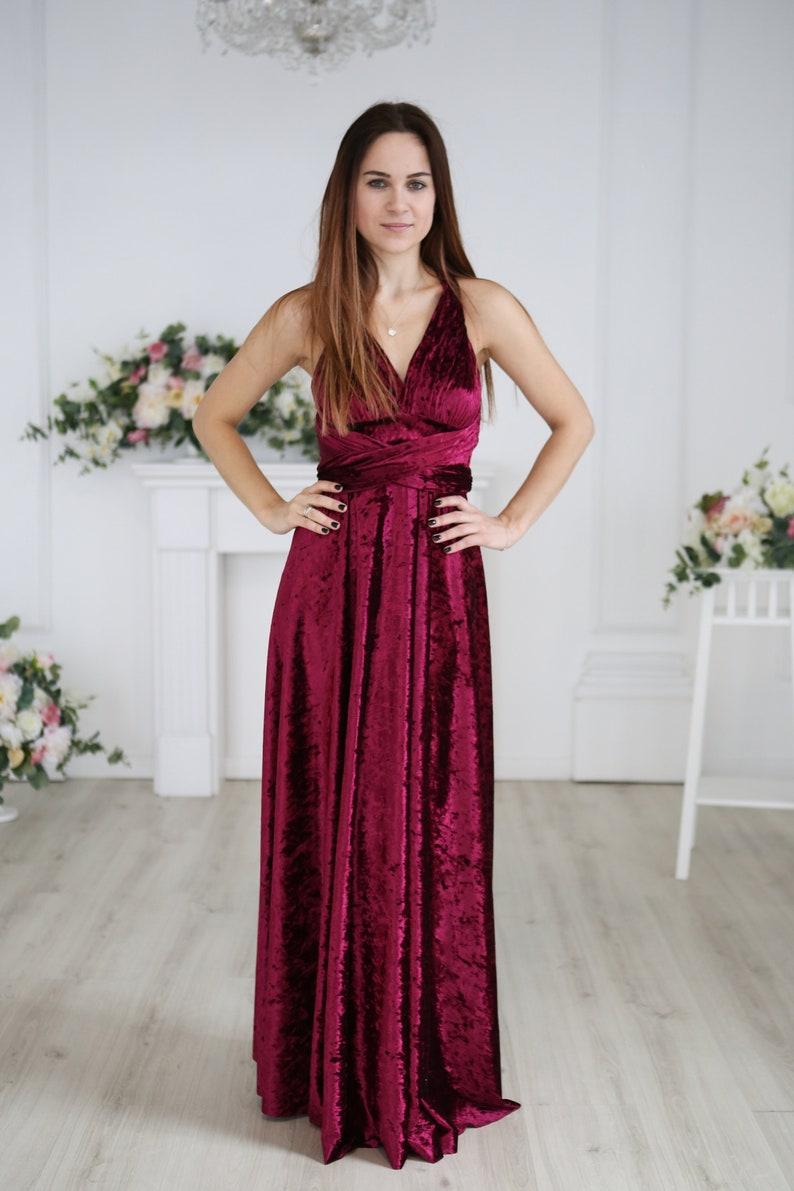 Burgundy wine Infinity dress bridesmaid dress evening dress long dress convertible dress, prom dress ball gown burgundy velvet dress