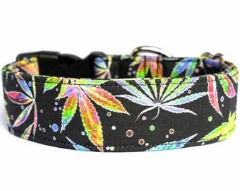 Rainbow Cannabis Pot Marijuana Weed Adjustable Dog Collar 420 Green Black Cotton Fabric Handmade Multiple Widths and Lengths to Choose From