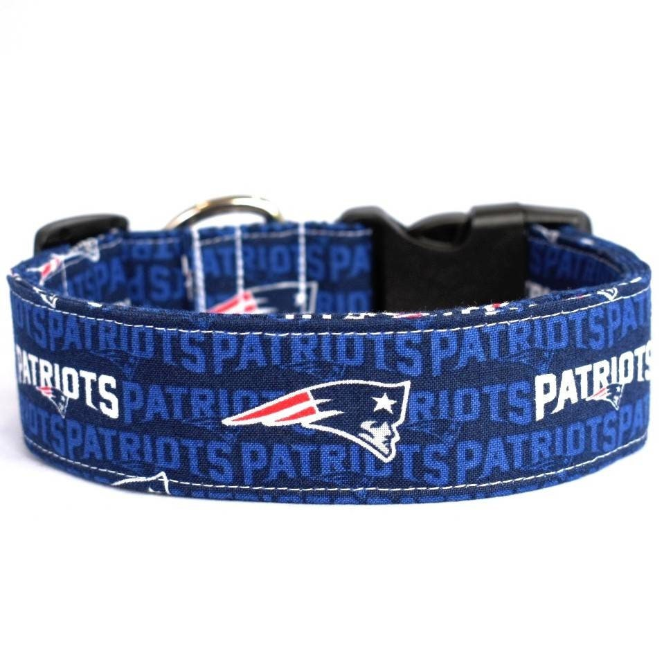 Small Print New England Patriots NFL Adjustable Dog Collar Blue Cotton  Fabric Handmade Multiple Widths and Lengths to Choose From 0d915261f