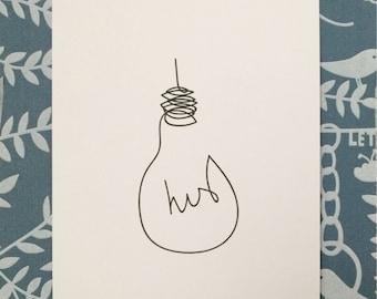 His/Hers Love Lightbulb A5 Art Print