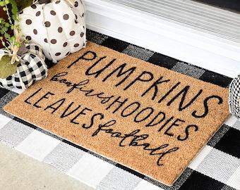 Fall Welcome Mat | Pumpkins Bonfires Hoodies Leaves Football Door Mat Front Porch Outdoor Decor | Fall Vibes Autumn Thanksgiving Halloween