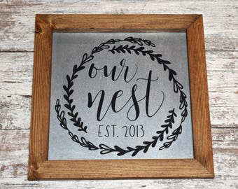 Personalized Our Nest Established Sign | Galvanized Metal And Wood Rustic Our Nest Sign | Farmhouse Our Nest Sign | Housewarming Easter Sign