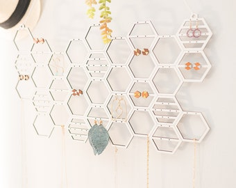 Wall Hanging Jewelry Organizer | Honeycomb Earring And Necklace Display | Modern White Stud Or Dangling Earring Jewelry Holder Storage
